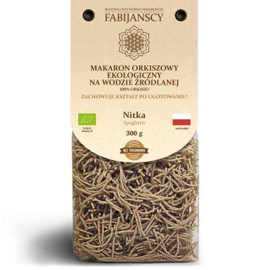 Fabijańscy - Makaron ekologiczny z orkiszu jasnego na wodzie źródlanej. Nitka 300g.